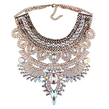 Exaggeration Multicolor Rhinestone Necklace Fashion Personality Sweater Chain Rock Style Necklace Nightclub Women Accessories