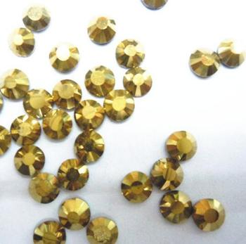 Gold Hematite Color 2mm,3mm,4mm,5mm,6mm Facets FlatBack Resin Rhinestone Nail Art Gements Decoration Stones/Beads
