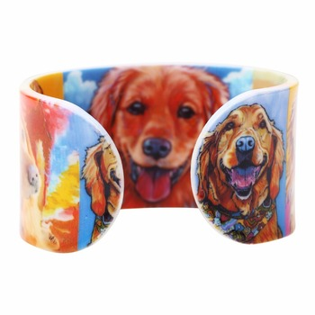 Bonsny Acrylic Wide love Golden Retriever Dog Bangles Bracelet Animal Jewelry For Women 2017 New Spring Summer Accessories