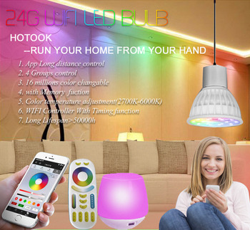 HOTOOK Mi Light WIFI LED Bulb RGB CCT(2700-6500K)LED Lamp Smart Light Dimmable MR16 GU10 4WSpotlight 2.4G Remote and APP Control