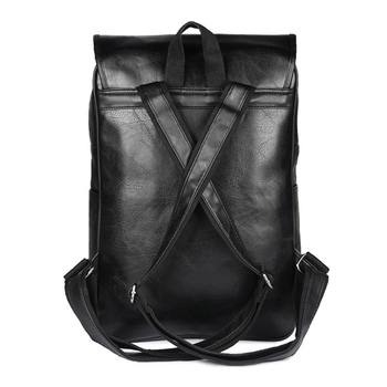 LUYO Vintage England Style Pu Leather Male Fashion Backpack Schoolbag Men School Bags For Teenagers Bagpack Female Travel Black