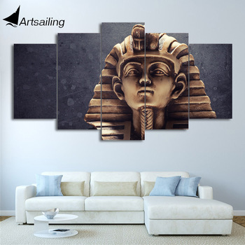 HD printed 5 piece Canvas Art Egyptian Pharaohs Statue Painting Wall Pictures for Living Room Home Decor CU-2658C