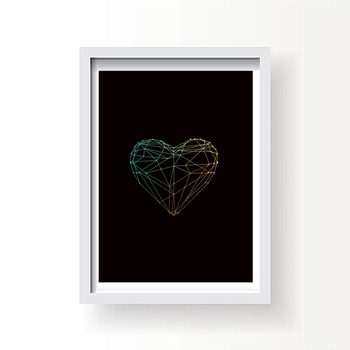 Art Poster Heart Geometric Lines Creative Wall Picture White Black Colorful Canvas Print Photo on Desk Picture For Wall No Frame