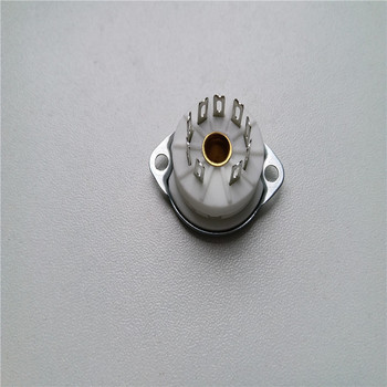 10pcs ceramic tube socket Small 9 pin tube socket GZC9-F6 Silver foot for 6DJ8 EL84 6922 6BM8 6EU7 6AU8 12AX7 12AY7 12AZ7
