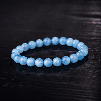 Natural Aquamarine 6-12mm Stone Bead Bracelet Femme Stretch Bracelet Decoration Men Bracelets Round Beads Blue Unisex
